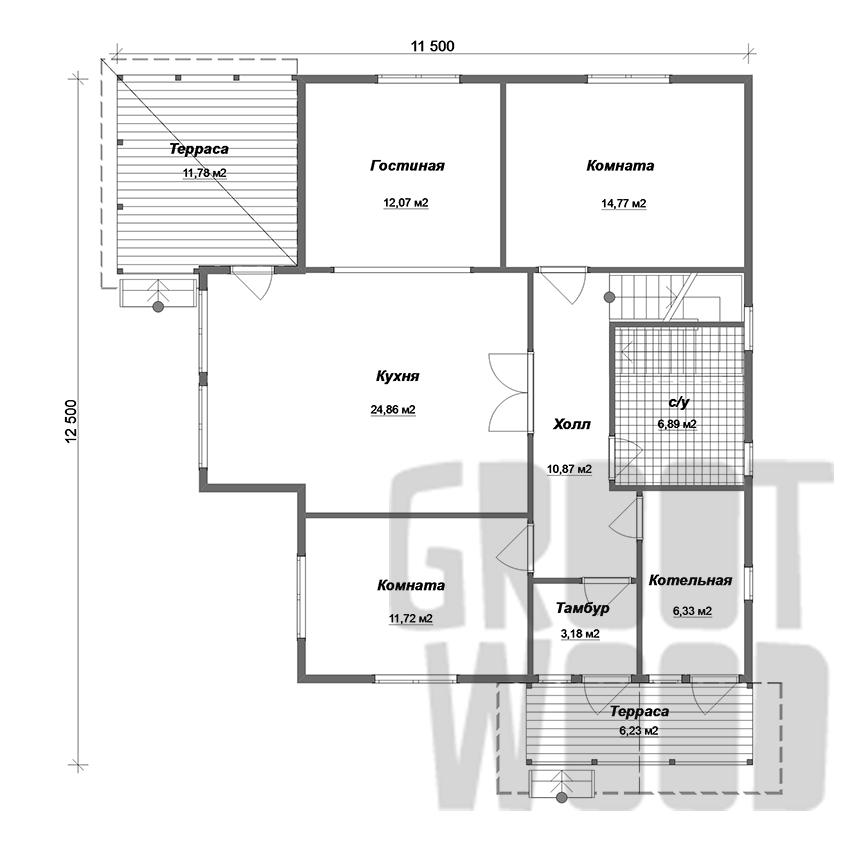 Полутораэтажный дом 11 х 8 м, 217 кв. м. план