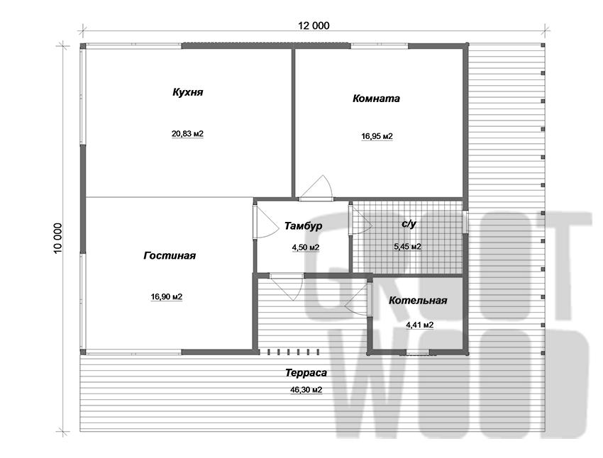Одноэтажный современный дом 10 х 8 м, 120 кв. м. план
