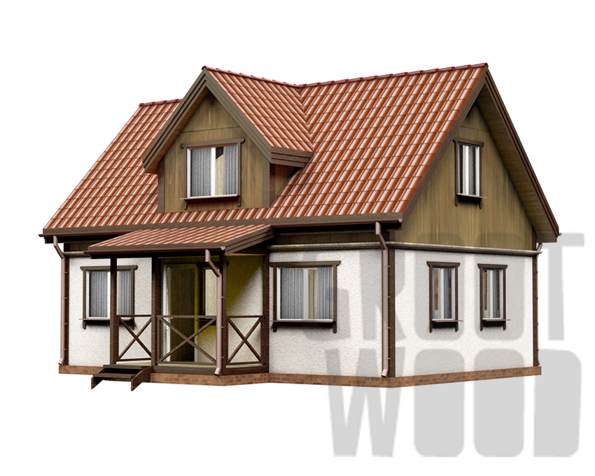 Дом с мансардным этажом 9 х 6 м, 98 кв. м. фасад
