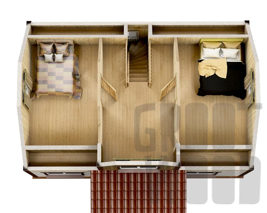 Дом с мансардным этажом 9 х 6 м, 98 кв. м. план