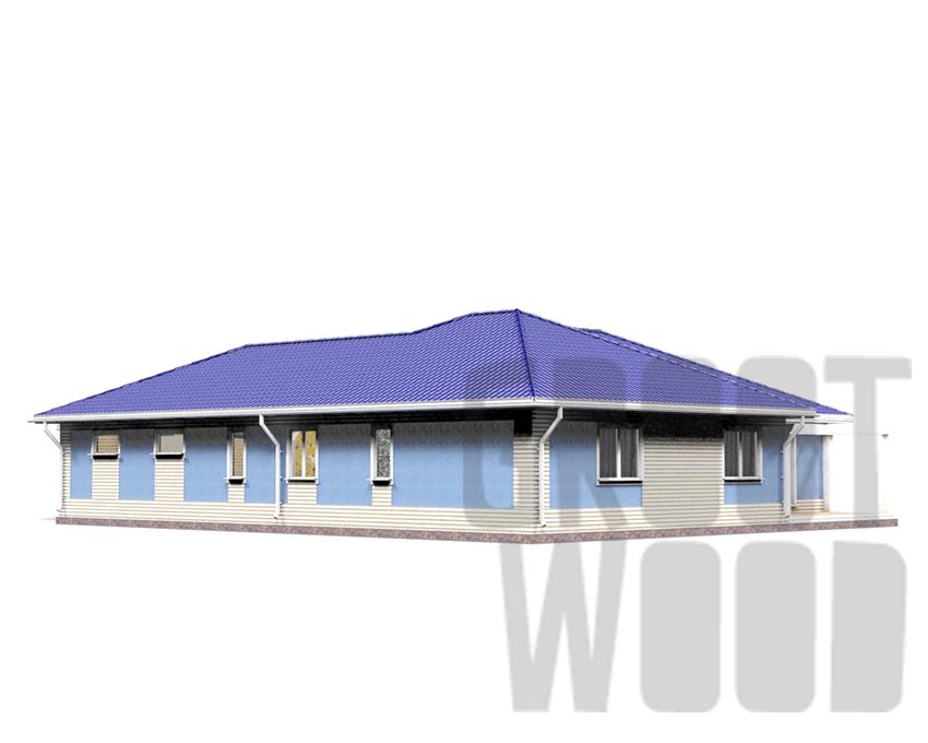 Одноэтажный дом 17 х 14 м, 213 кв. м. с гаражом фасад