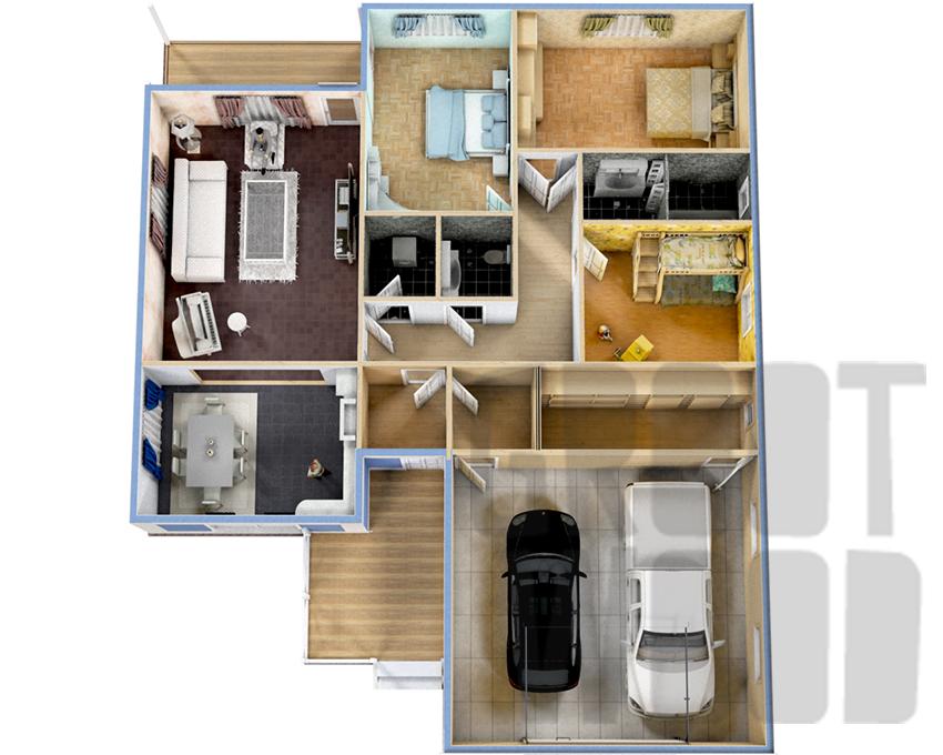 Одноэтажный дом 17 х 14 м, 213 кв. м. с гаражом план