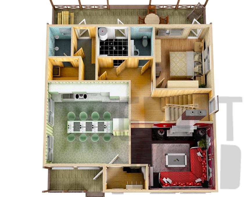 Двухэтажный дом 12 х 10 м, 240 кв. м. план