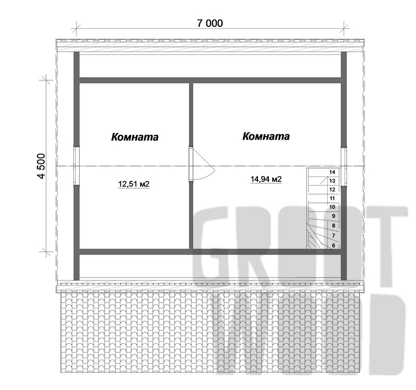 Дом с мансардным этажом 8 х 7 м, 87 кв. м. план