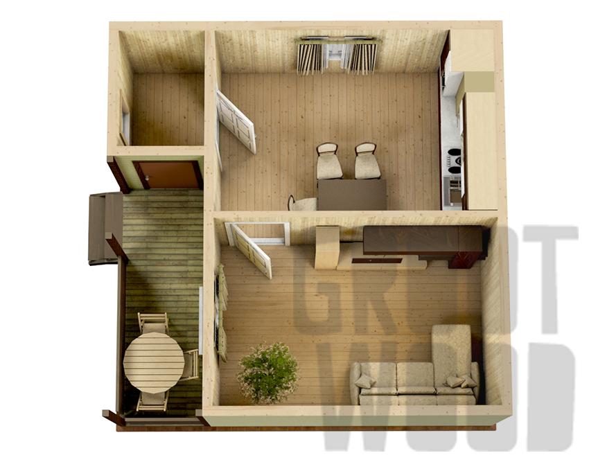 Одноэтажный дом 6 х 6 м, 36 кв. м. план