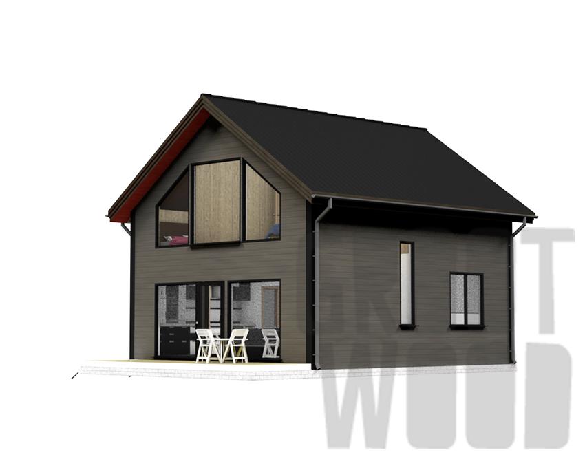 Полутораэтажный дом 8 х 7 м, 131 кв. м. фасад