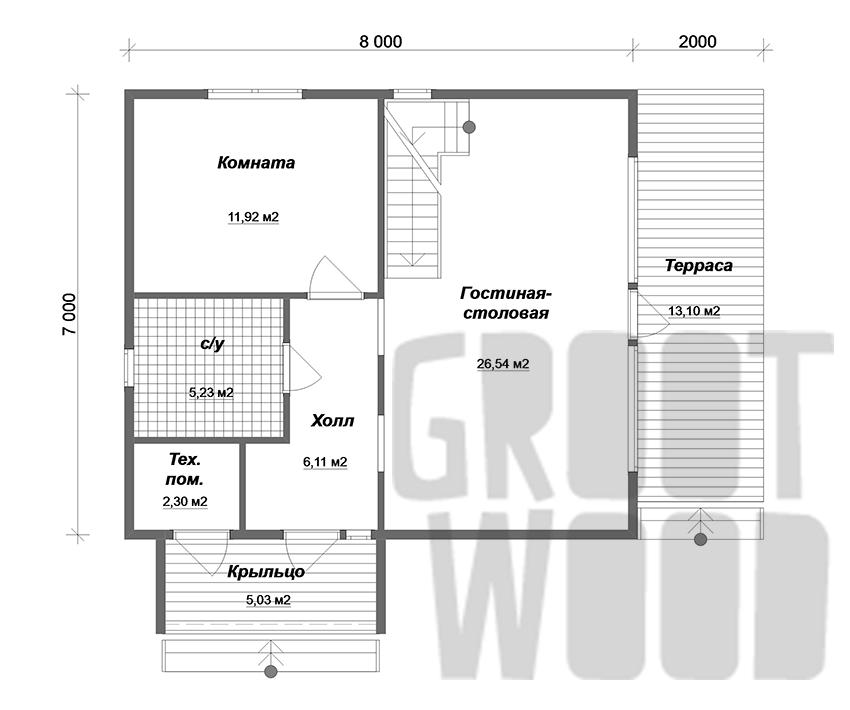 Полутораэтажный дом 8 х 7 м, 131 кв. м. план