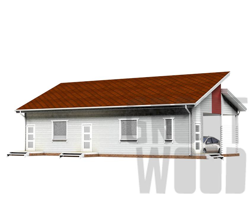 Одноэтажный дом 15 х 7 м, 116 кв. м. фасад