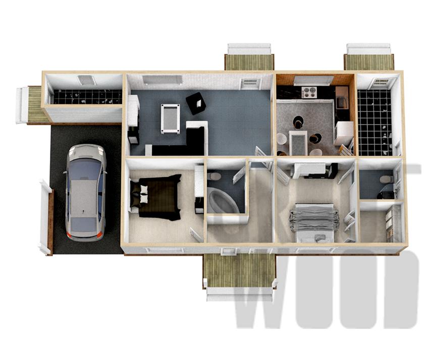 Одноэтажный дом 15 х 7 м, 116 кв. м. план