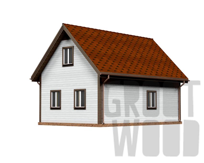 Дом с мансардным этажом 9 х 6 м, 97 кв. м. фасад