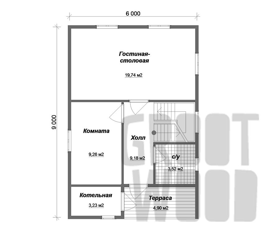 Дом с мансардным этажом 9 х 6 м, 97 кв. м. план