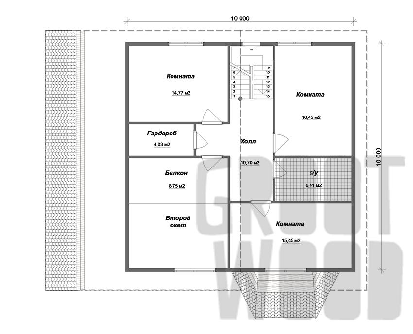 Полутораэтажный дом 15 х 13 м, 273 кв. м. план