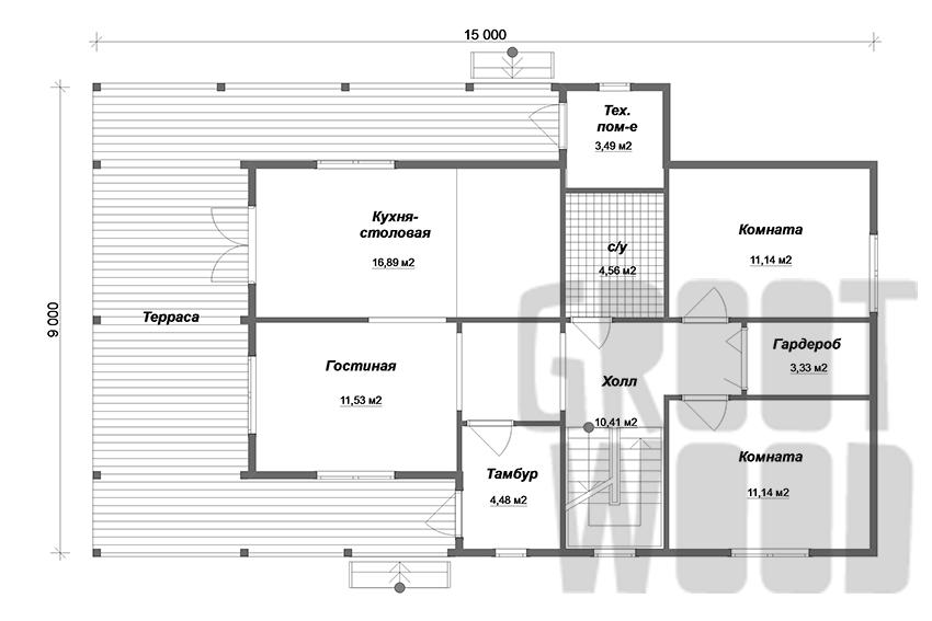 Двухэтажный дом 15 х 9 м, 231 кв. м. план