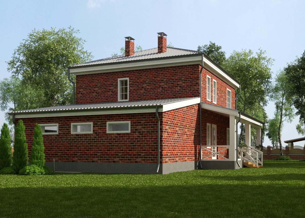 Коттедж с гаражом и террасой фасад
