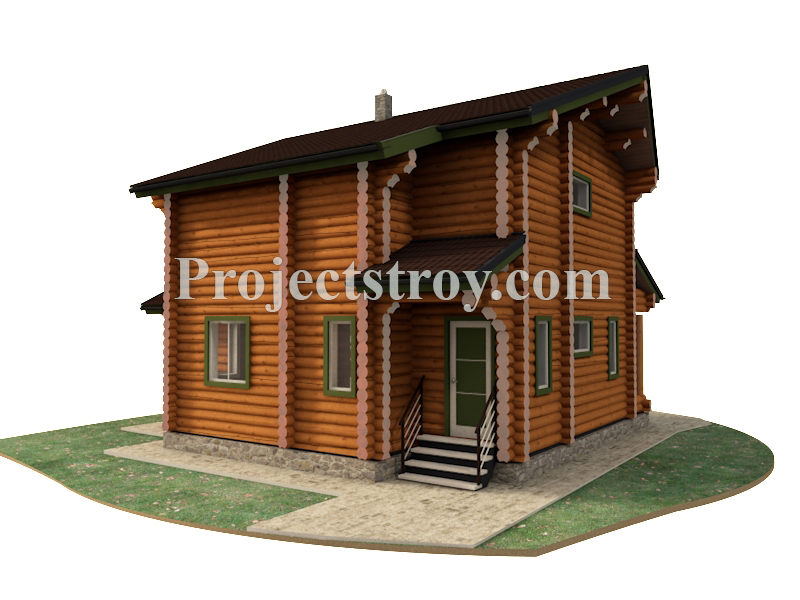 Дом из оцилиндрованного бревна 9.5 х 10 м фасад