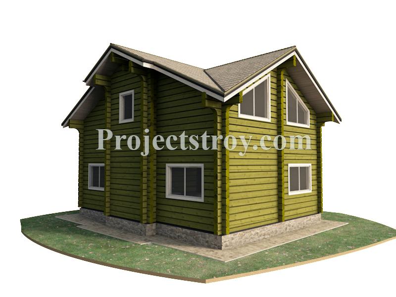 Деревянный дом из лафета площадью 140 кв. м фасад