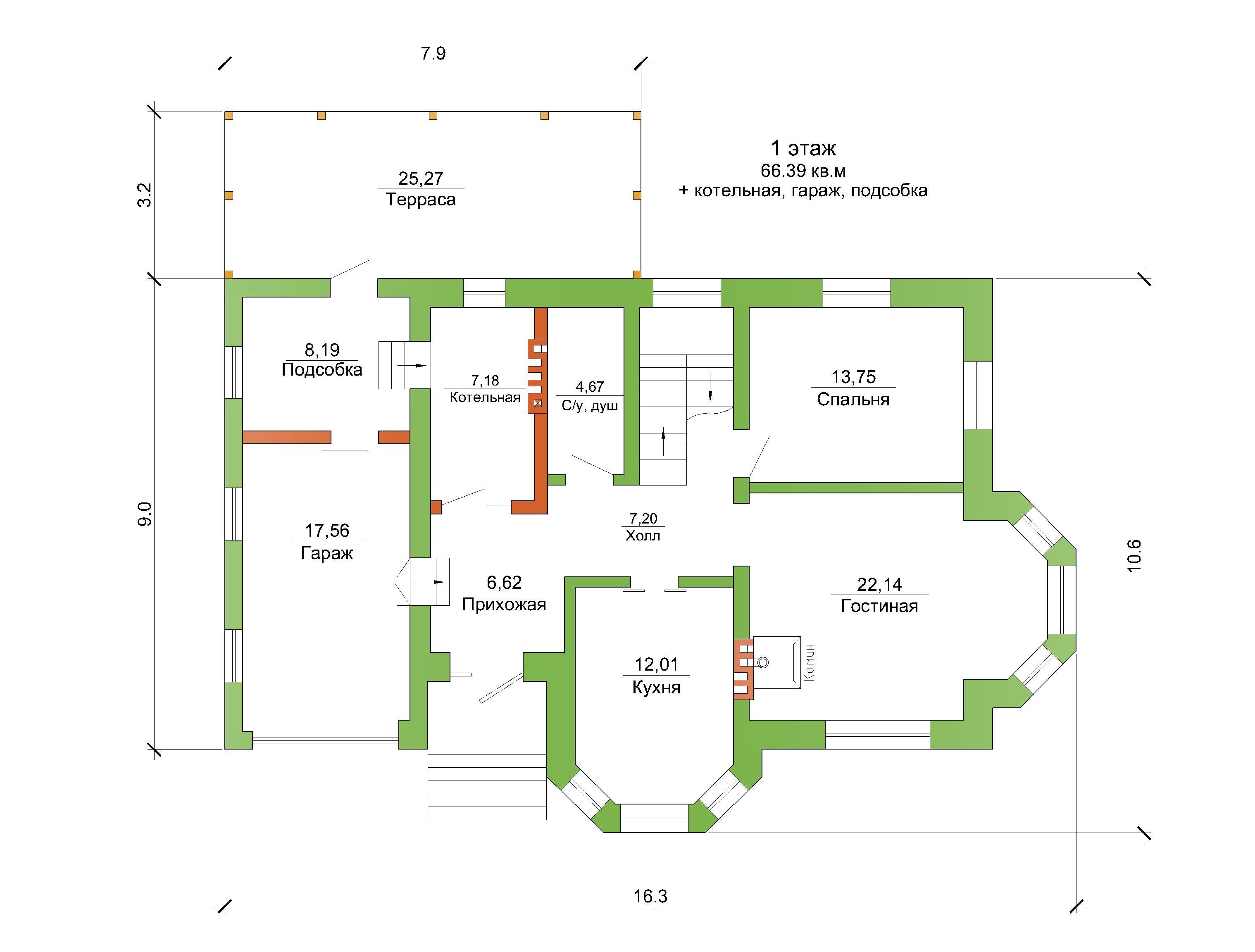 Готовый проект коттеджа 140 м2 / Артикул AM-70 план