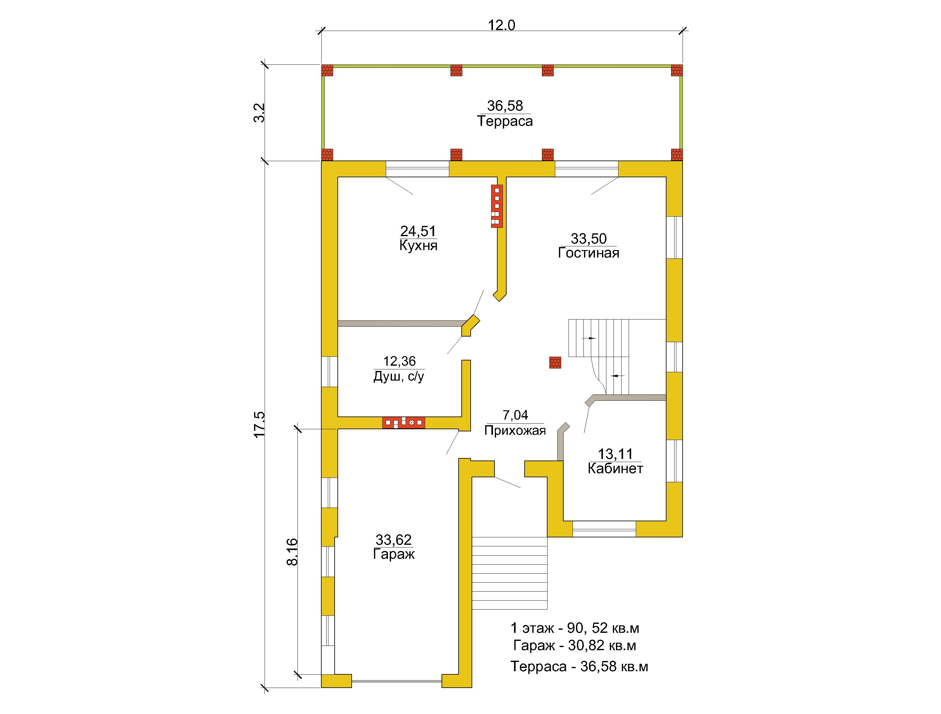 Готовый проект коттеджа 286 кв. м / Артикул LA-127 план