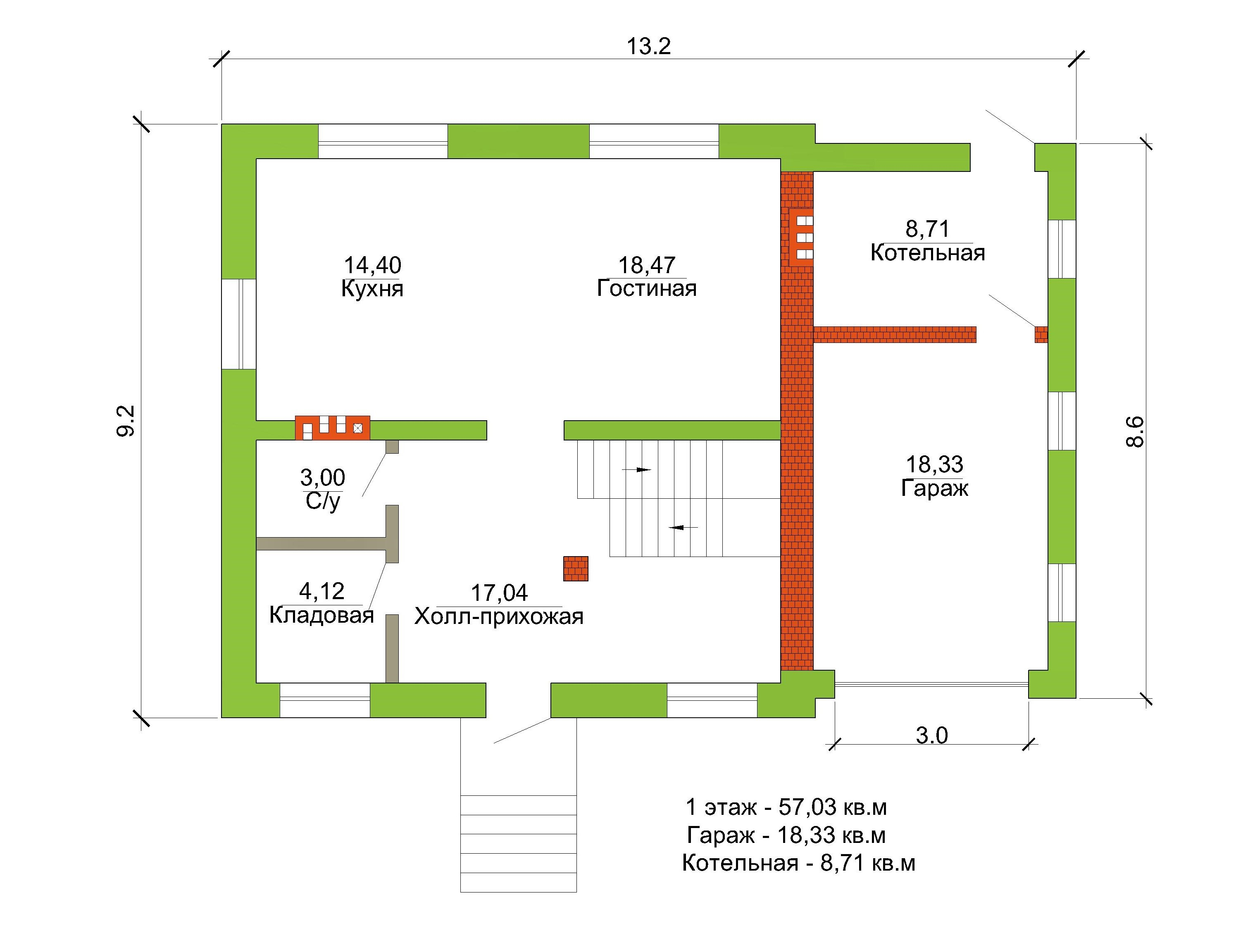 Готовый проект коттеджа 140 кв. м / Артикул ЦЕ-126 план