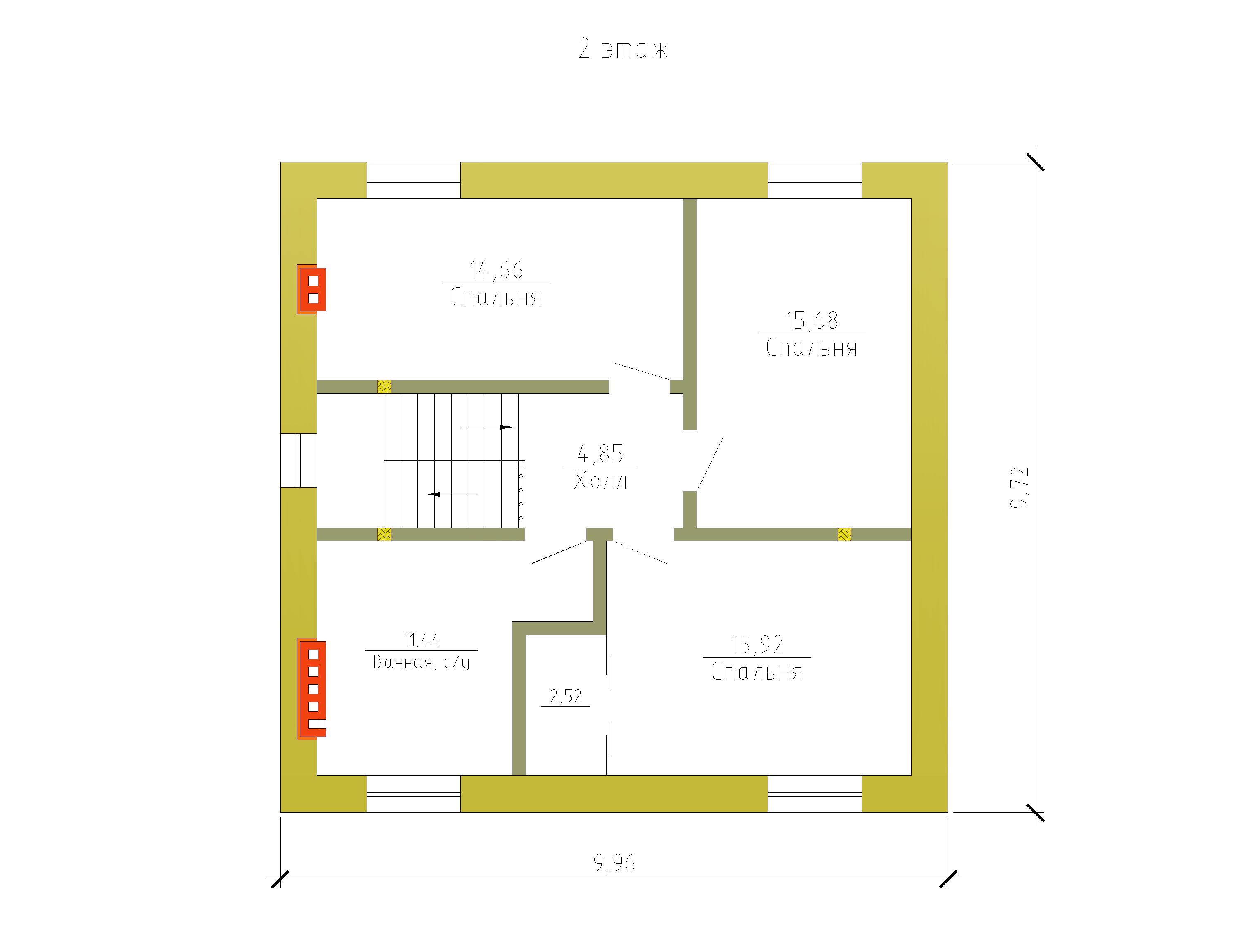 5 Готовый проект коттеджа 125 м2 / Артикул Э-56 план