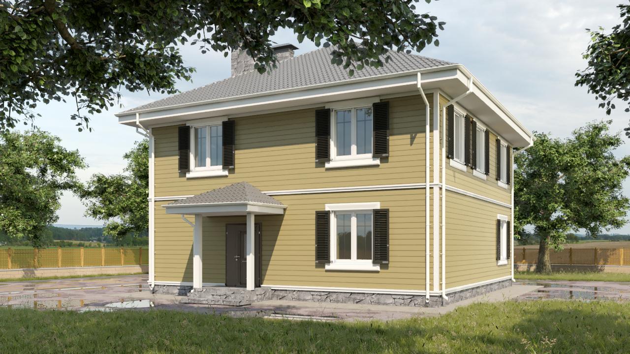 Готовый проект дома 160 кв.м / Артикул AHT-111 фасад