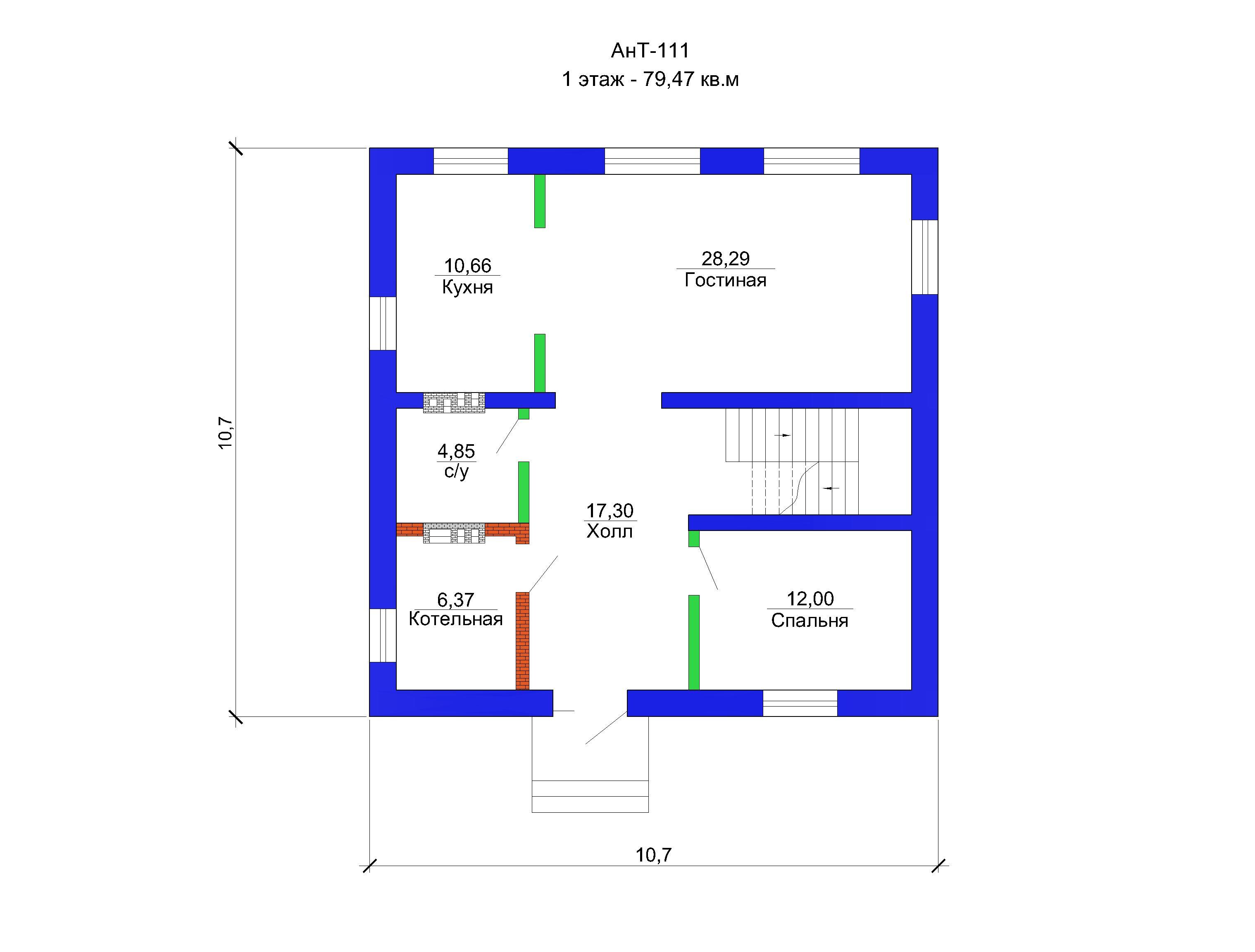 Готовый проект дома 160 кв.м / Артикул AHT-111 план