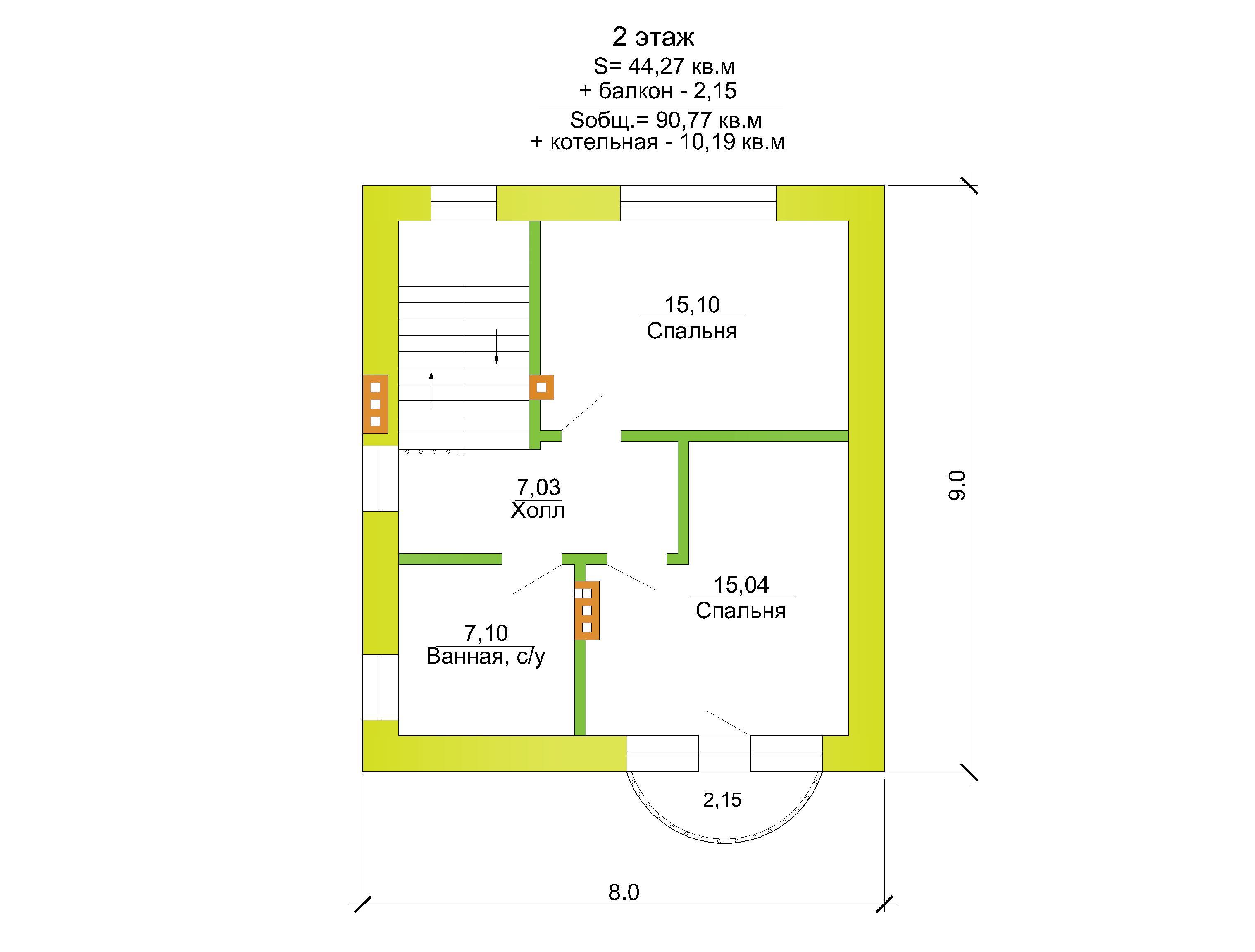 Готовый проект коттеджа 90 кв. м / Артикул DK-49 план