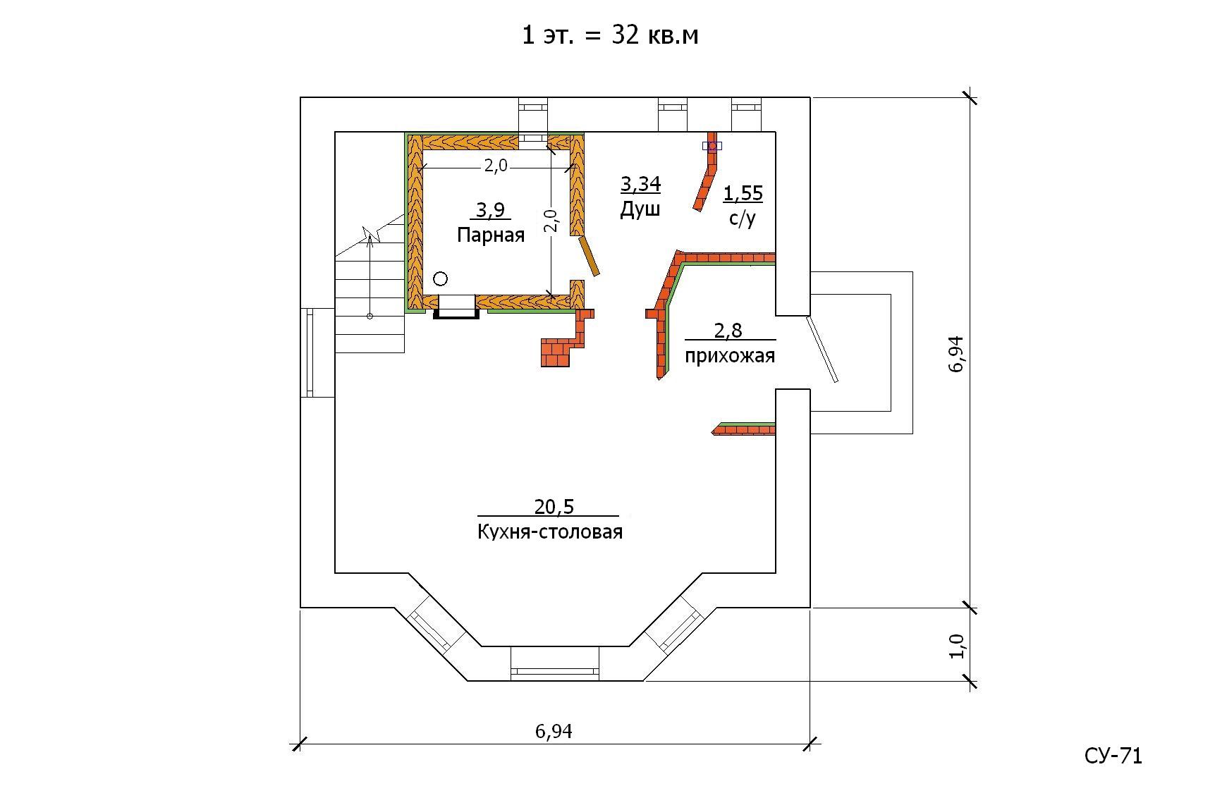Проект гостевого дома с баней 64 кв.м / Арт. Cу-71 план