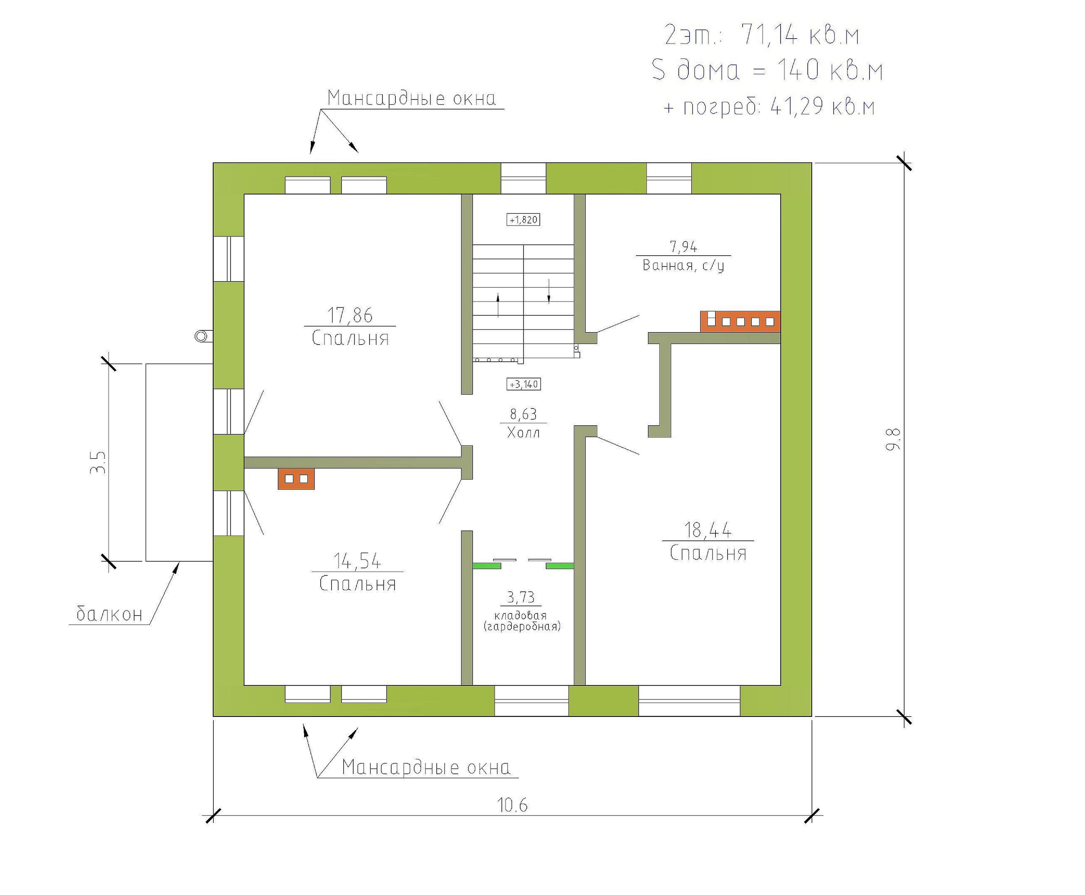 Готовый проект коттеджа 140 кв. м / Артикул МИ-79 план