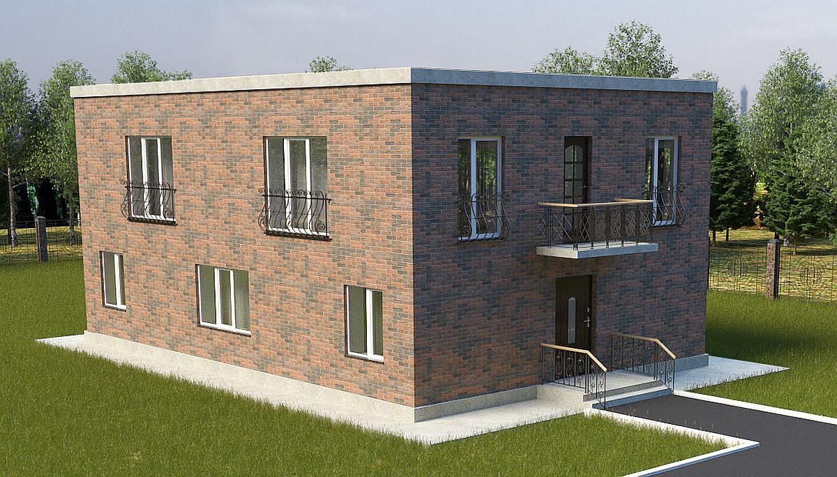 """Готовый проект коттеджа в стиле """"Куб"""" - 214 кв.м / фасад"""