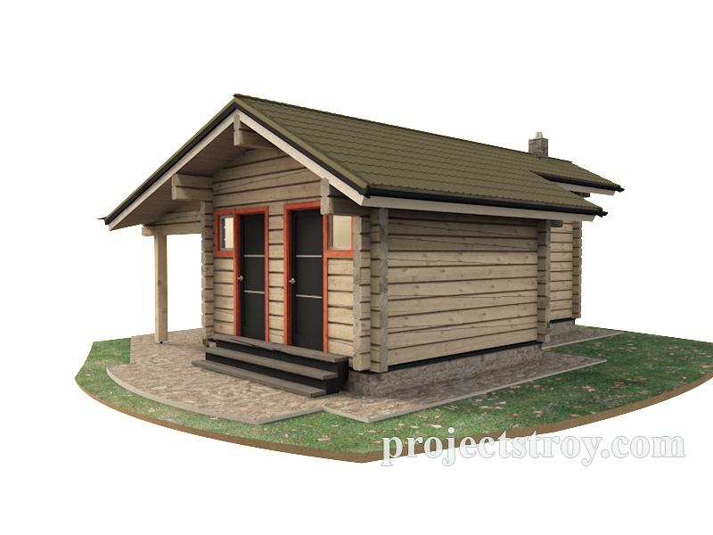 Беседка - хозблок - душ - туалет в одном строении фасад