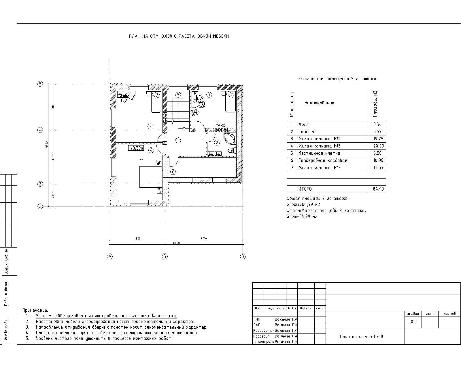 Рабочий проект 2-х этажного дома план