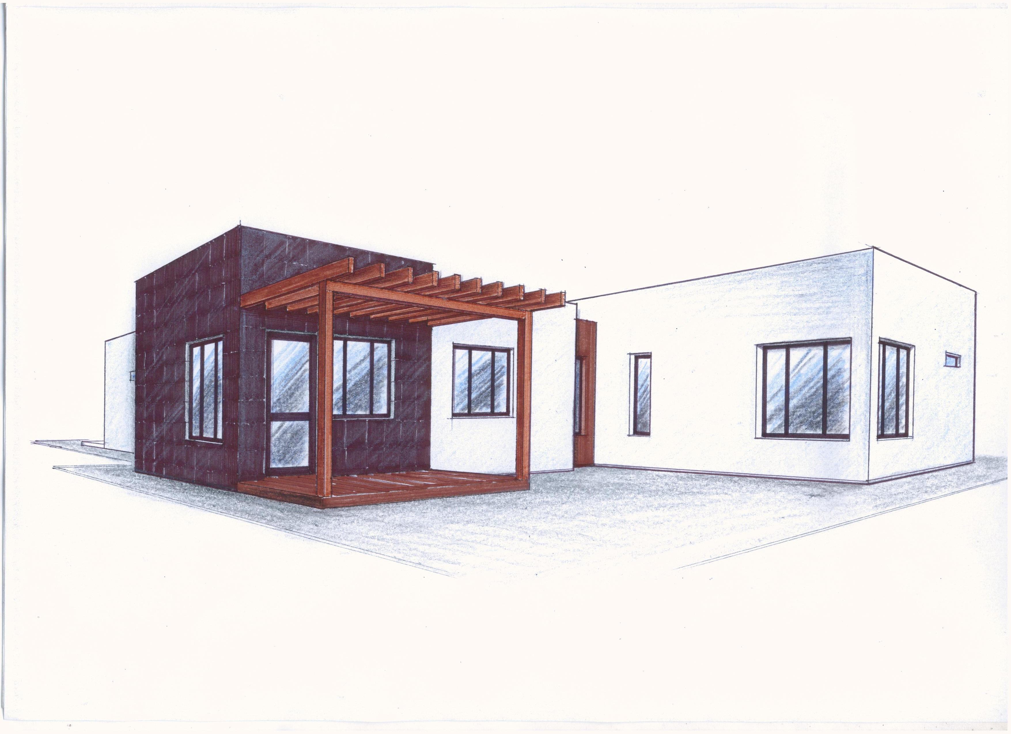 Проект 1-го дома в стиле хай-тек фасад
