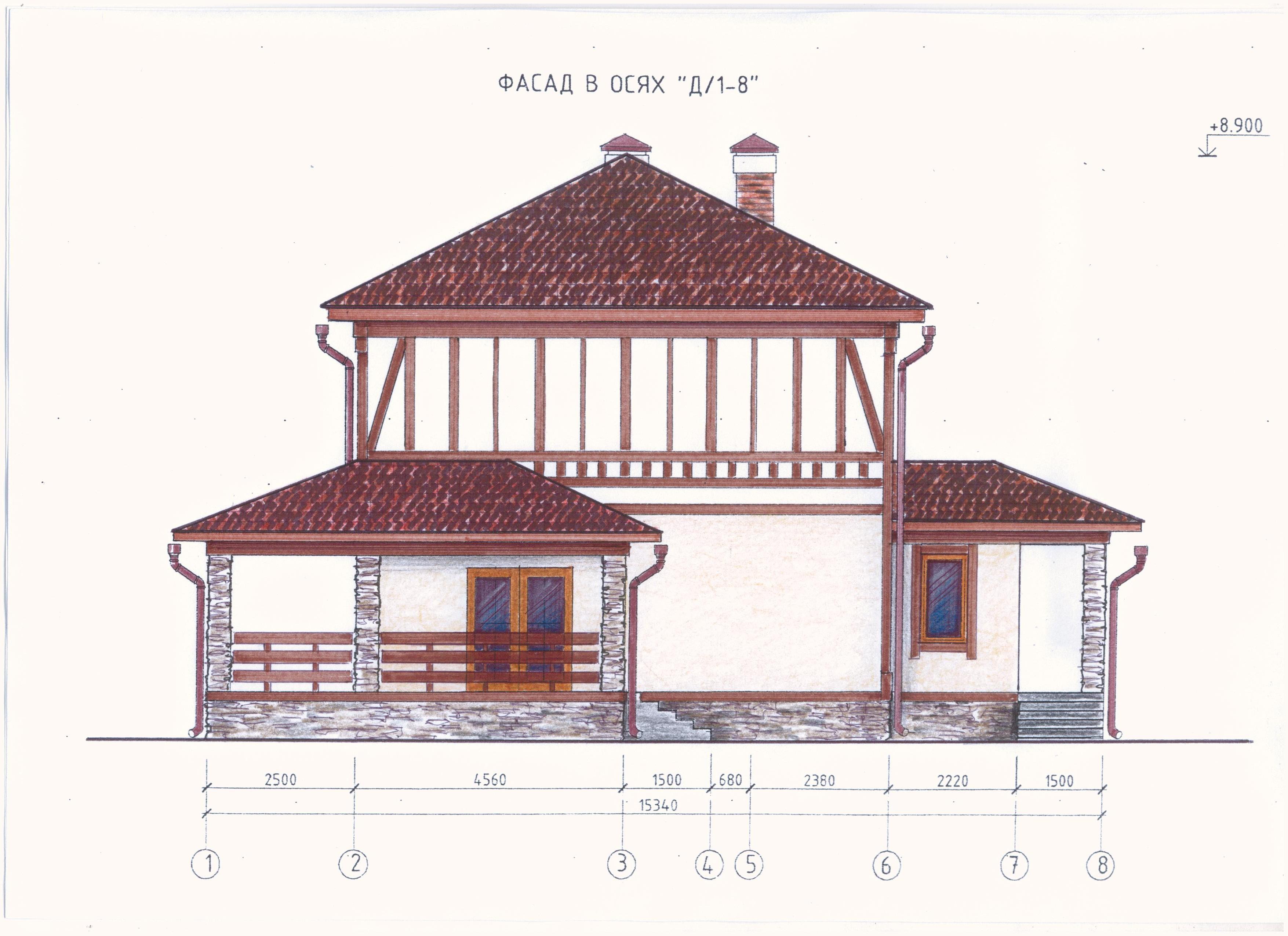 Проект 2-х этажного дома фасад