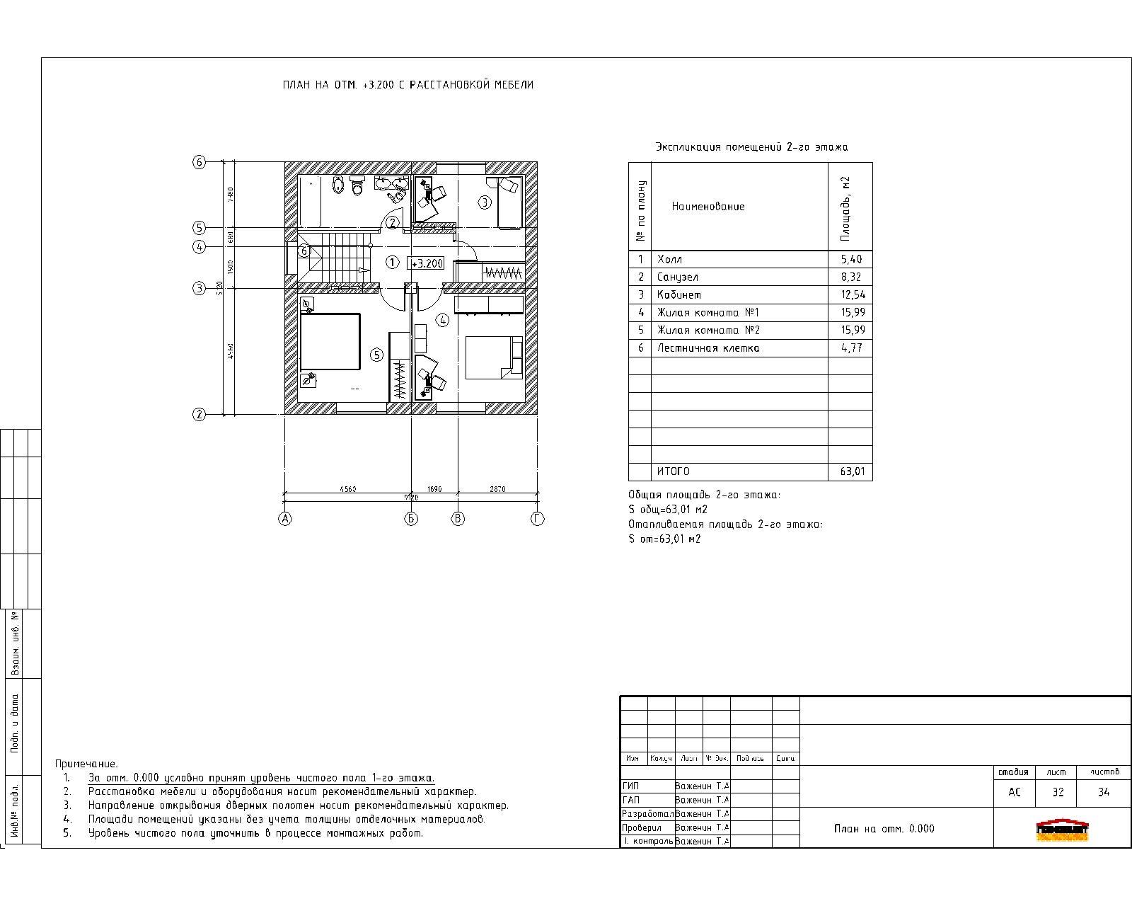 Проект 2-х этажного дома план
