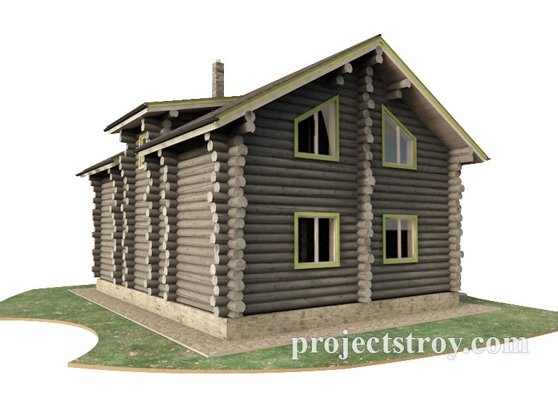 Деревянный дом из бревна 9.5 х 12 м фасад