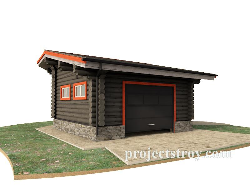Проект гаража из бревна 6.5 х 8.5 м фасад