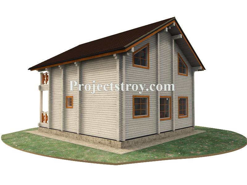 Дом из профилированного бруса 9 х 9.5 м фасад