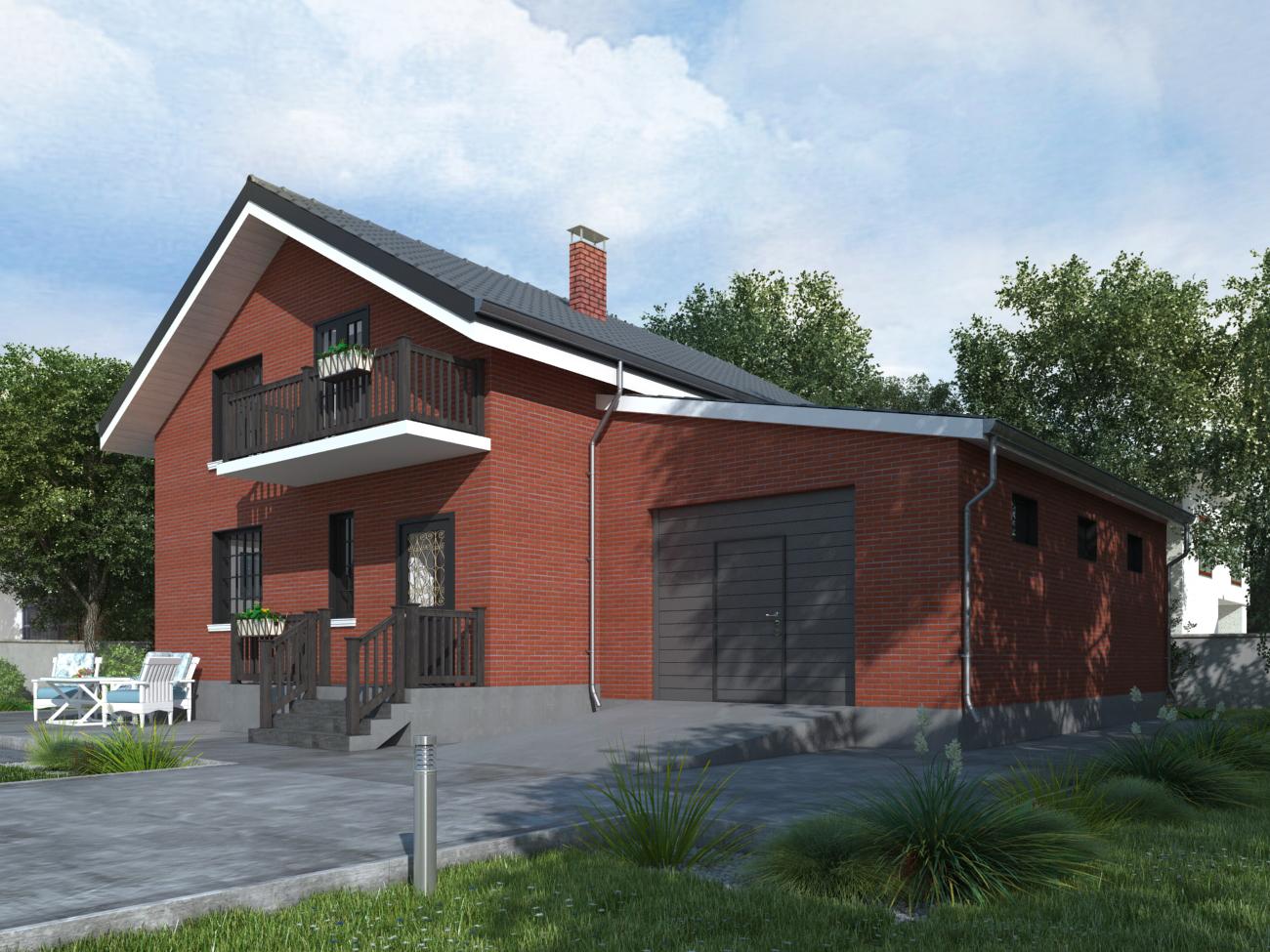 Проект коттеджа с гаражом фасад