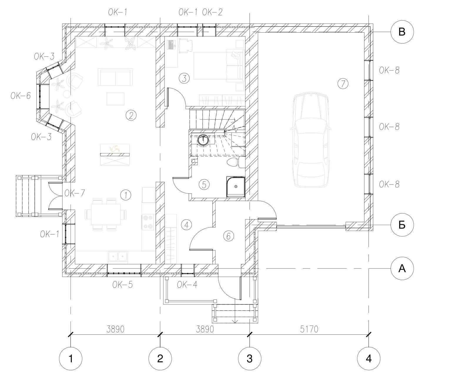 Проект коттеджа с гаражом план