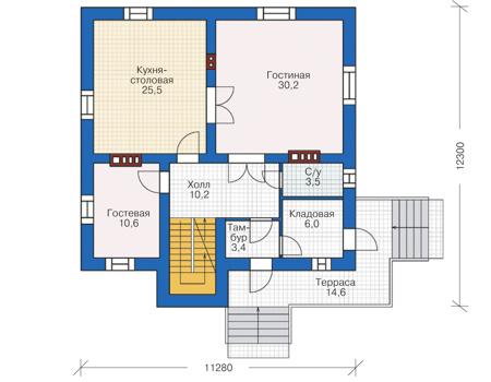 Проект кирпичного дома 38-80 план