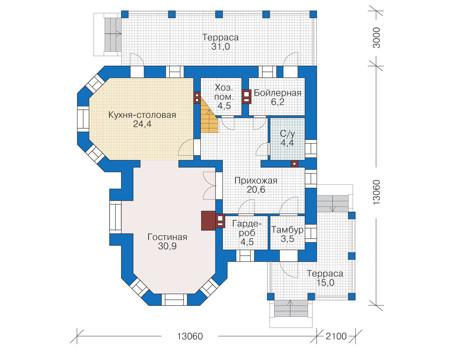 Проект кирпичного дома 38-91 план