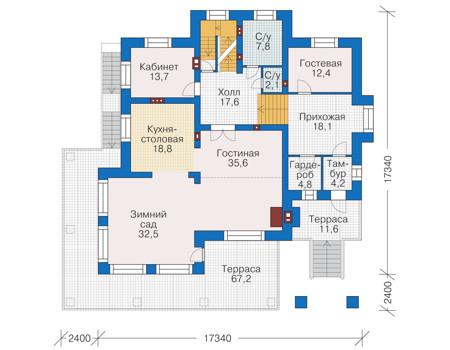 Проект кирпичного дома 39-05 план