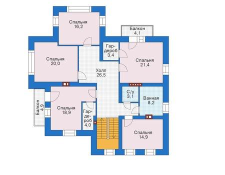 Проект кирпичного дома 39-16 план