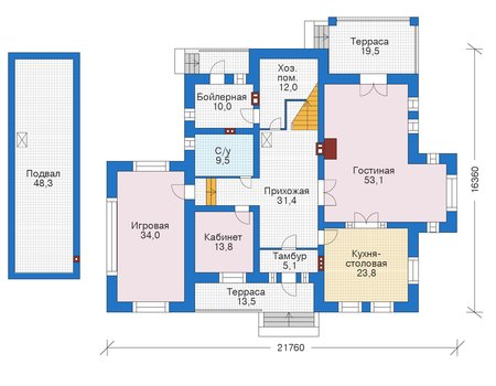 Проект кирпичного дома 39-17 план