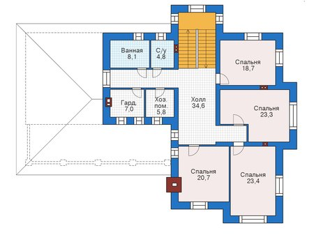 Проект кирпичного дома 39-26 план