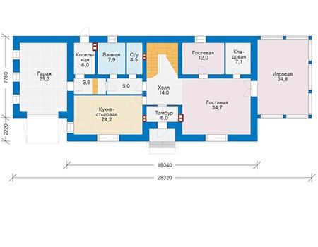 Проект кирпичного дома 39-82 план