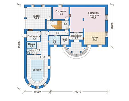 Проект кирпичного дома 39-84 план