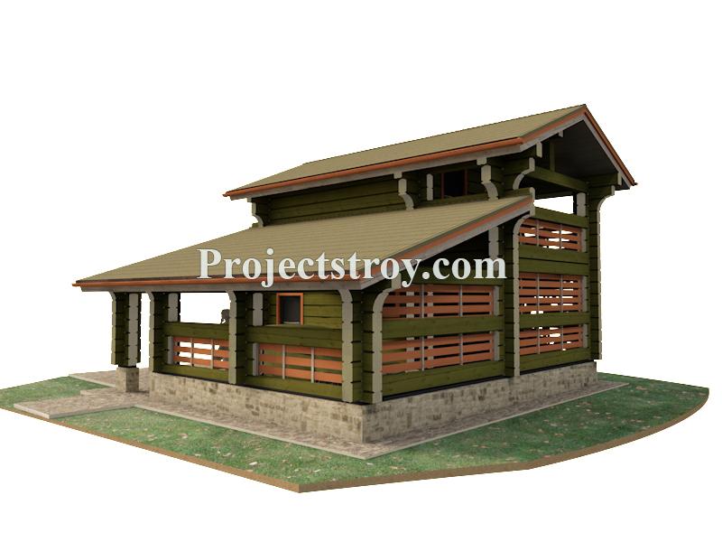Проект гаража с комнатой и навесом фасад
