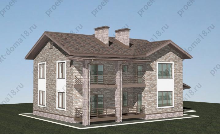 Проект двухэтажного дома с гаражом  К-06-17 фасад